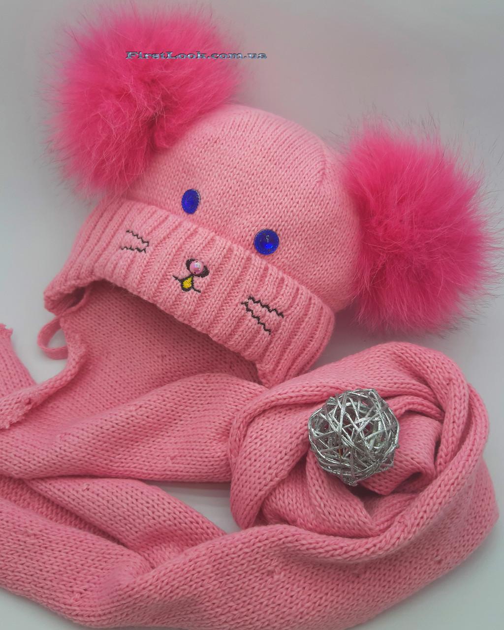 Зимний детский комплект шапка и шарф на девочку(1-3 года), фото 1