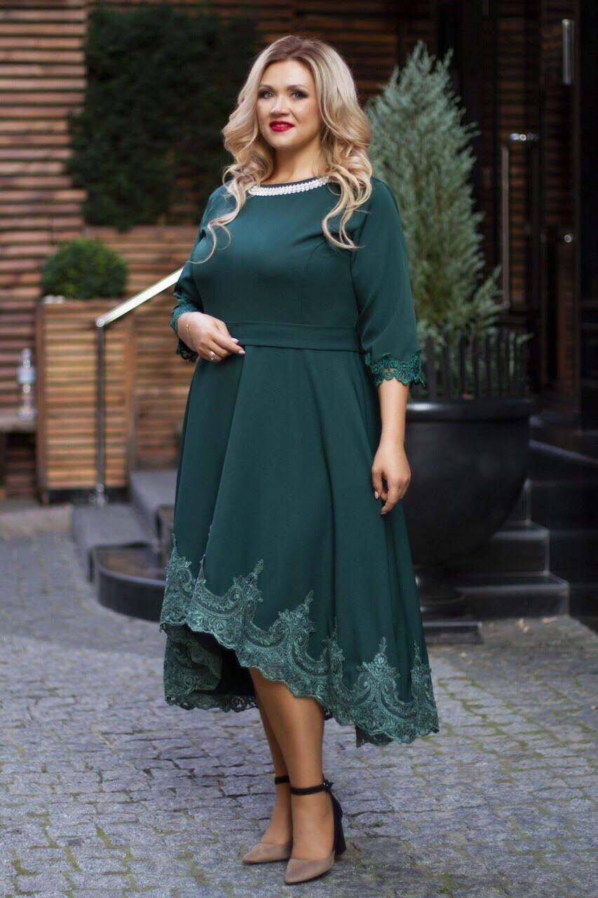 Нарядное платье женское Костюмка Отделка кружево Размер 56 58 60 В наличии 4 цвета