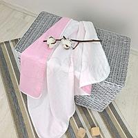 Плед Муслін біло-рожевий