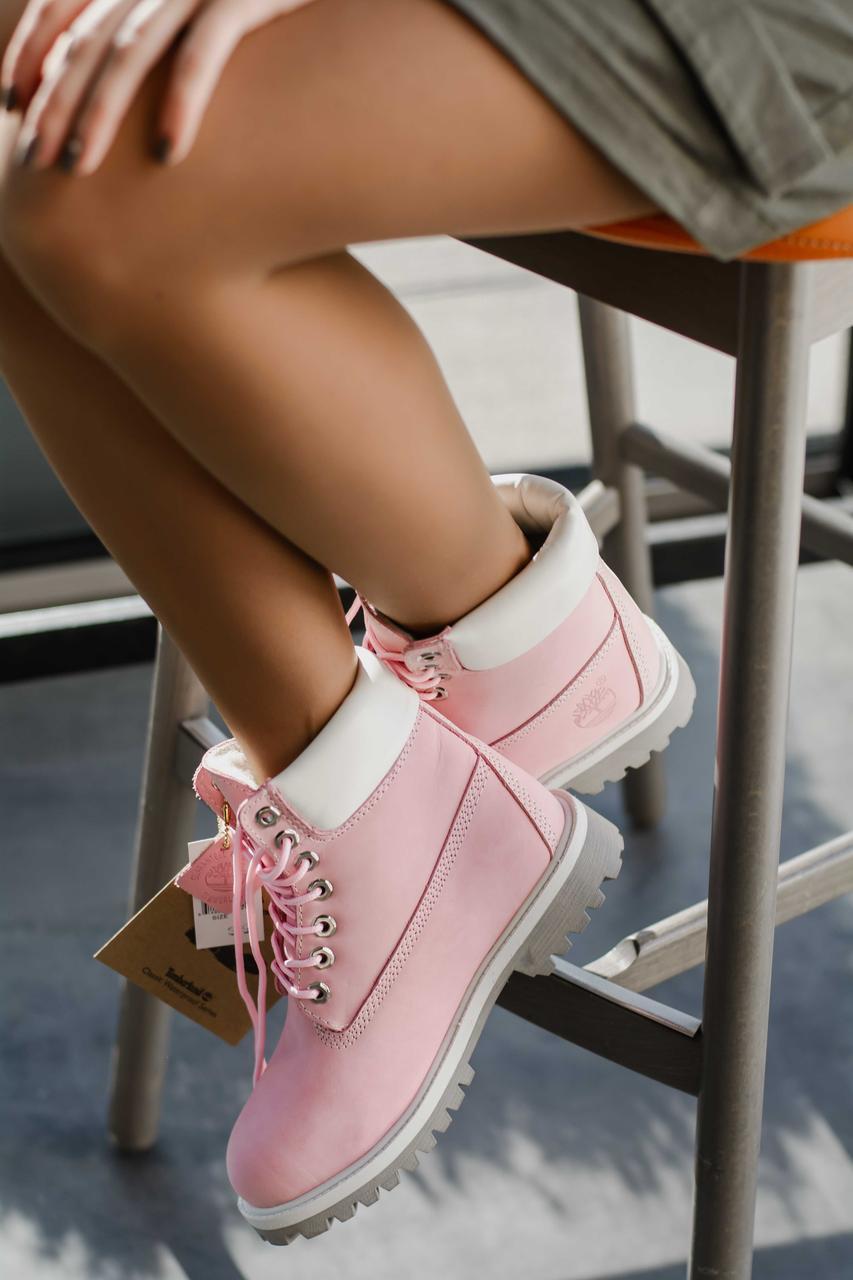 Зимние женские ботинки Timberland Pink высокие тимберленды с натуральным мехом внутри (розовые), ТОП-реплика