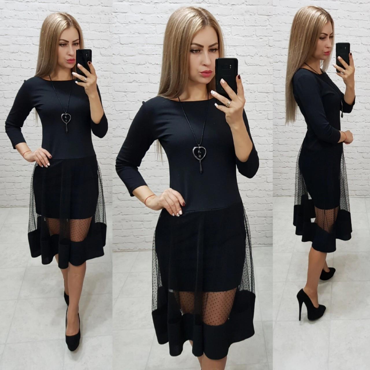 Платье люкс, арт 146,ткань креп- дайвинг, цвет черный