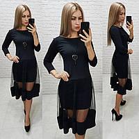 Платье люкс, арт 146,ткань креп- дайвинг, цвет черный, фото 1