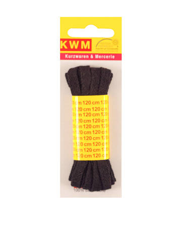 Шнурок черный 120см ширина 8мм KWM черный