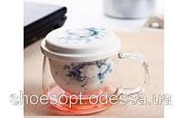 Кружка скляна Квіти з ситечком і кришкою, фото 1