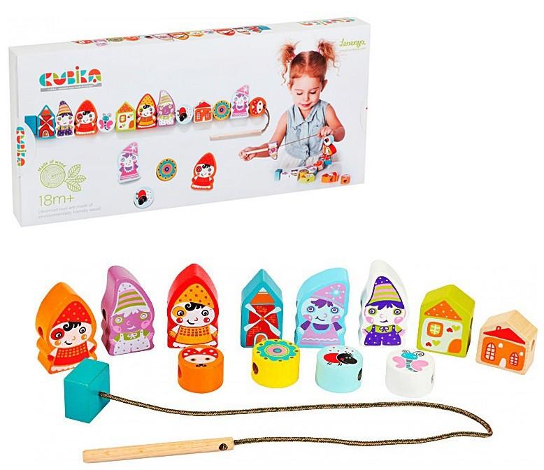 Дерев'яна іграшка Cubika Селище гномів на шнурівці (13654) (4823056513654)