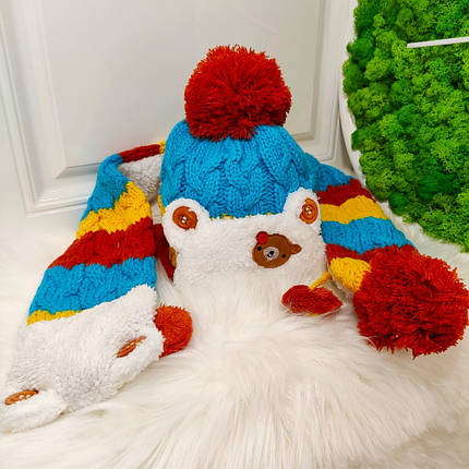 Шапка детская с шарфиком утепленная меховушкой  зима 1-4 года, фото 2