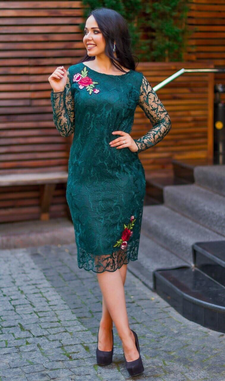 Женское гипюровое платье по фигуре Размер 50, 52, 54 В наличии 4 цвета
