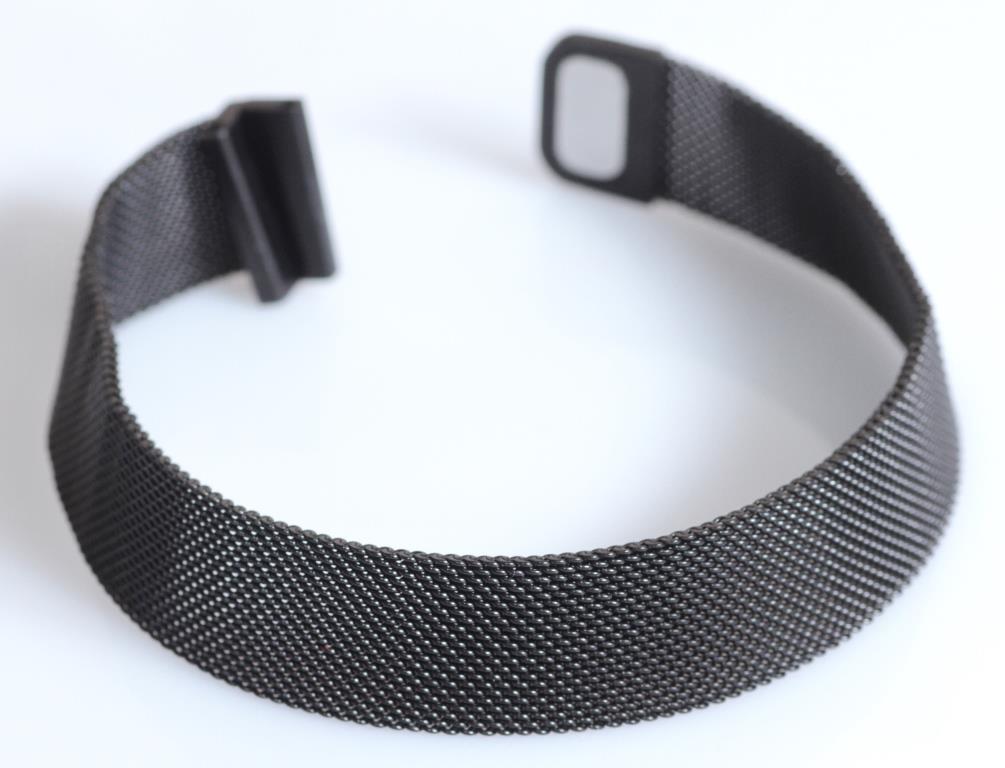Браслет сетка для часов на магнитной застежке. Миланское Плетение,17 мм. Черный