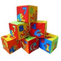 Кубики 6 Математика 125/4  мягкие, размер кубика 8*8см, 6шт в пакете 24*20*8см