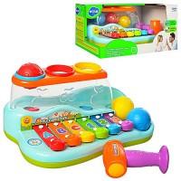 Музыкальный развивающий ксилофон 9199 логика-обучающий, с молотком, шарики 3шт, муз., звук, на батар