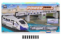 Залізниця дитяча 2184, 44-147-46см (довжина 366), локомотив, вагон, світло