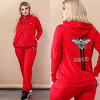 Женский батальный трикотажный спортивный костюм с нашивкой в стиле Gucci