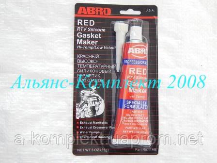 Герметик АБРО (ABRO) (красный, силиконовый, прокладок, высоко-температ