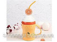 Кружка керамическая фрэш Апельсин с крышкой и трубочкой, фото 1