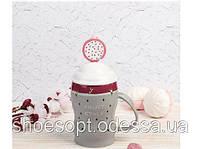 Кружка керамическая фрэш Мультифрукт с крышкой и трубочкой, фото 1