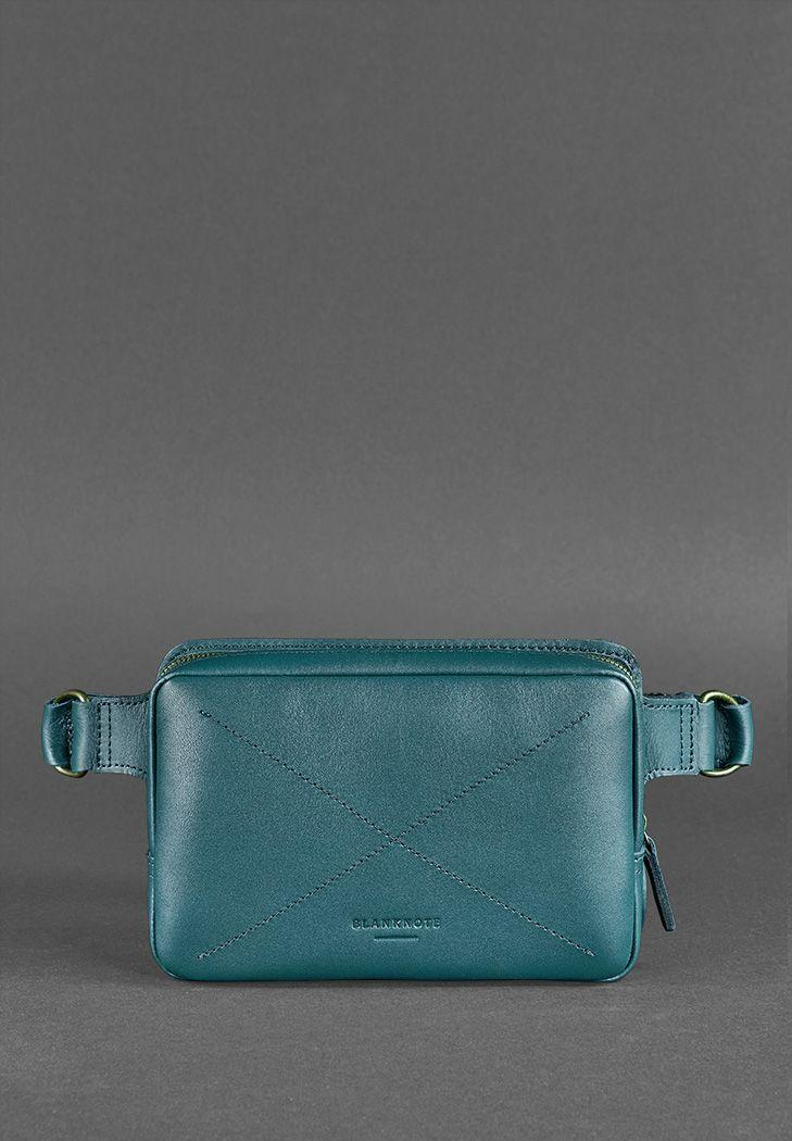 "Кожаная женская поясная сумка ""DropBag mini"". Зеленая."