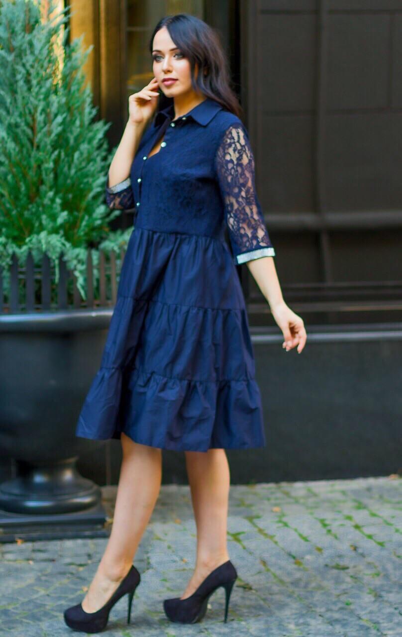 Нарядное платье женское Коттон и гипюр Размер 50 52 54 В наличии 4 цвета
