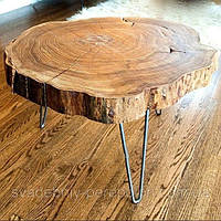 Стол журнальный из среза дерева