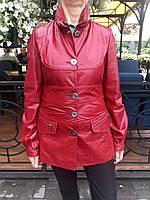 Кожаная женская куртка красная кроко ., фото 1