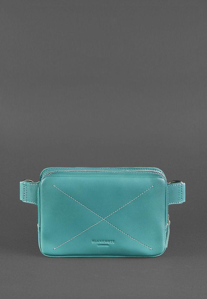"""Кожаная женская поясная сумка """"DropBag mini"""". Бирюзовая."""