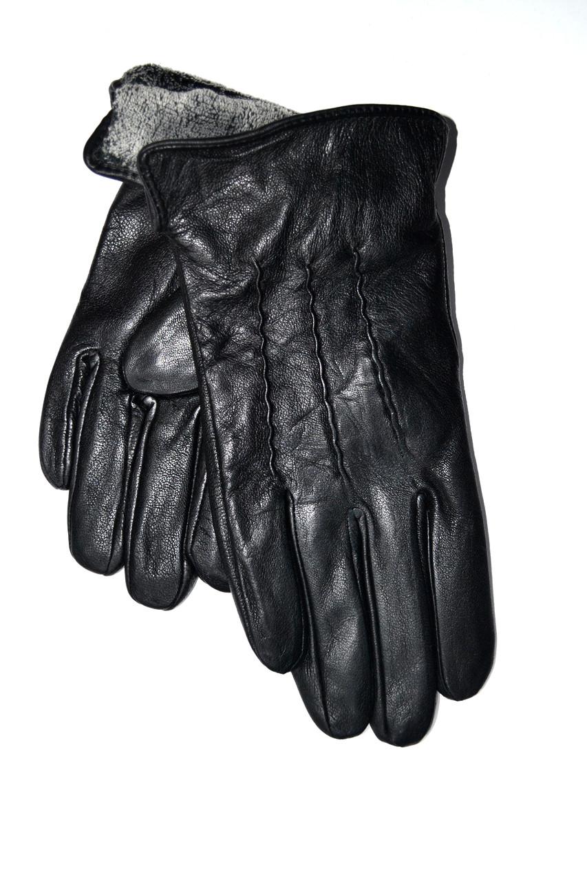 Підліткові шкіряні рукавички на махре оптом