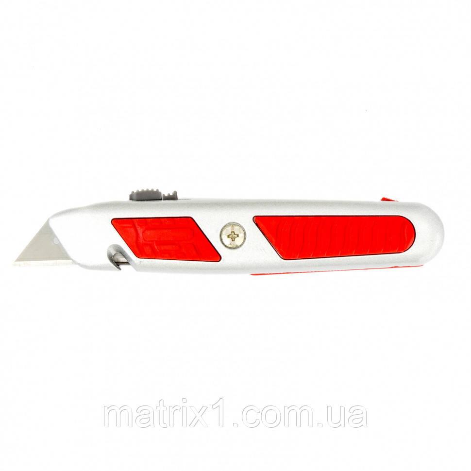 Нож, 18 мм, выдвижное трапециевидное лезвие, отделение для лезвий, метал.корпус// MTX MASTER