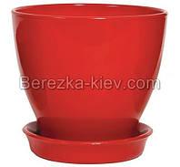 Горшок керамический глянец красный (диаметр 8,5 см.)