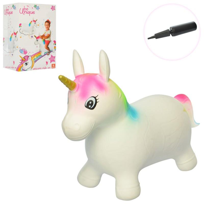 Детский Прыгун лошадка единорог надувной, белый радужный единорог, насос, коробка,2612