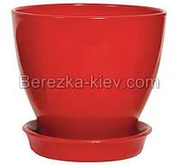 Горшок керамический глянец красный (диаметр 11,5 см.)