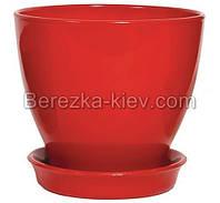 Горшок керамический глянец красный (диаметр 16 см.)