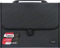 Портфель на 12 отделений черный, А4 Axent 1604-01-А