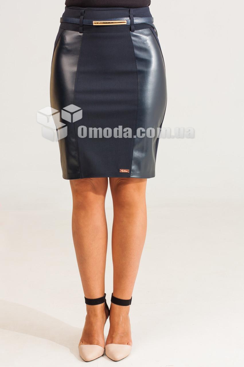 Женская короткая юбка Эмма синего цвета с кожанными вставками