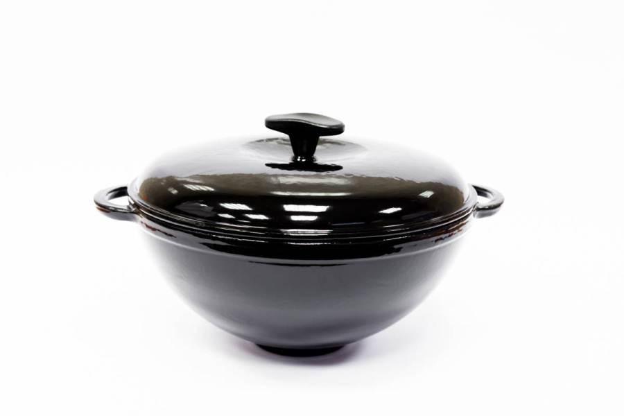 Кастрюля чугунная WOK, цветная глянцевая с крышкой, объем 3,5 литров, чёрная