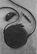 """Круглая женская сумка """"Бон-бон"""". Черная."""