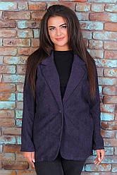 Женский классический вельветовый пиджак жакет на пуговице без подклада, норма и батал большие размеры