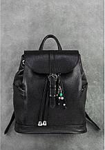"""Рюкзак шкіряний жіночий міський на клапані """"Олсен"""". Колір чорний"""
