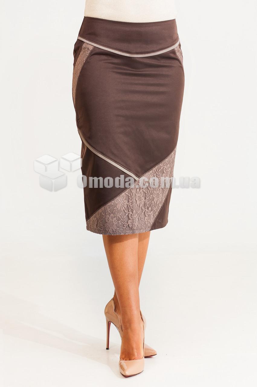 Женская прямая юбка Ева котон коричневого цвета