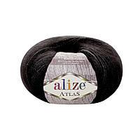 Пряжа Alize Atlas 60 черный (нитки для вязания Ализе Атлас) 49%шерсть, 51%полиестер