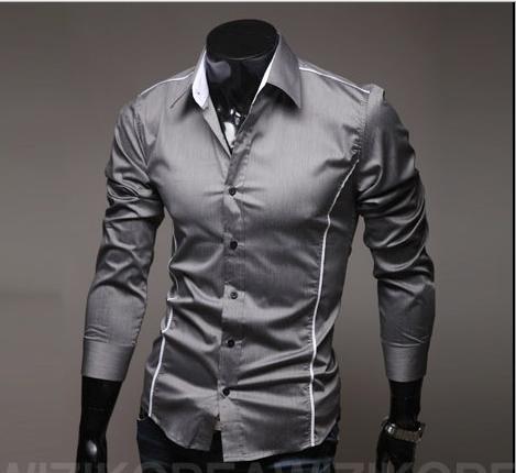 Сорочка довгий рукав приталені M-XL сіра з декорованими швами код 6