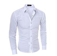 Стильная мужская приталенная рубашка в британксом стиле длинный рукав белая код 1