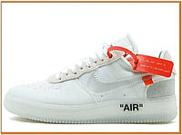 Женские кроссовки Nike Air Force 1 Low x Off-White Ghosting (найк аир форс 1 офф вайт низкие, белые)