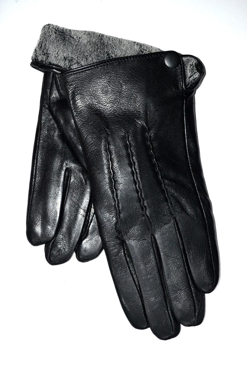 Чоловічі шкіряні рукавички на махре оптом