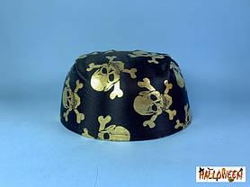 Котелок бандана детская с золотыми/серебряными черепами, фото 3