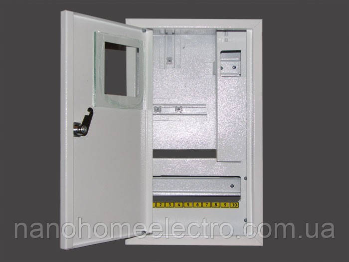 Металлический ящик под счетчик под 10 автоматов накладной ШМР-1Ф-10+УзоН-ЭЛ - NanohomeElectro в Днепре