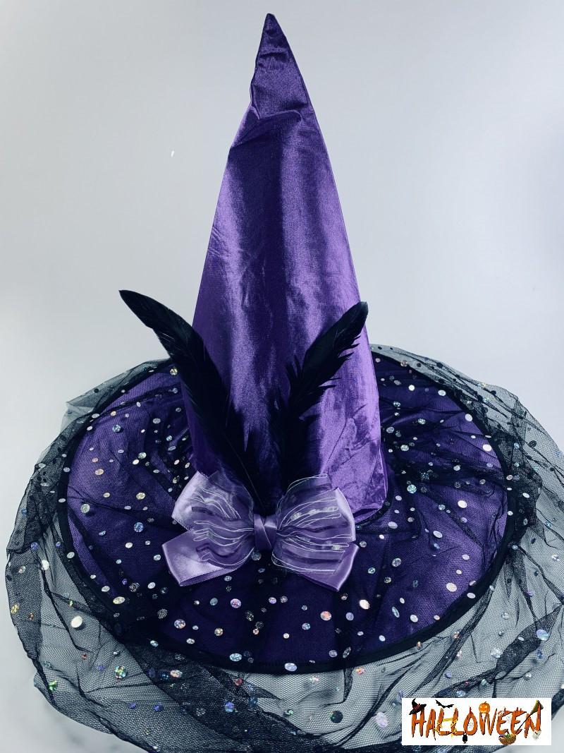 Колпак ведьмы фиолетовый с бантом и пером