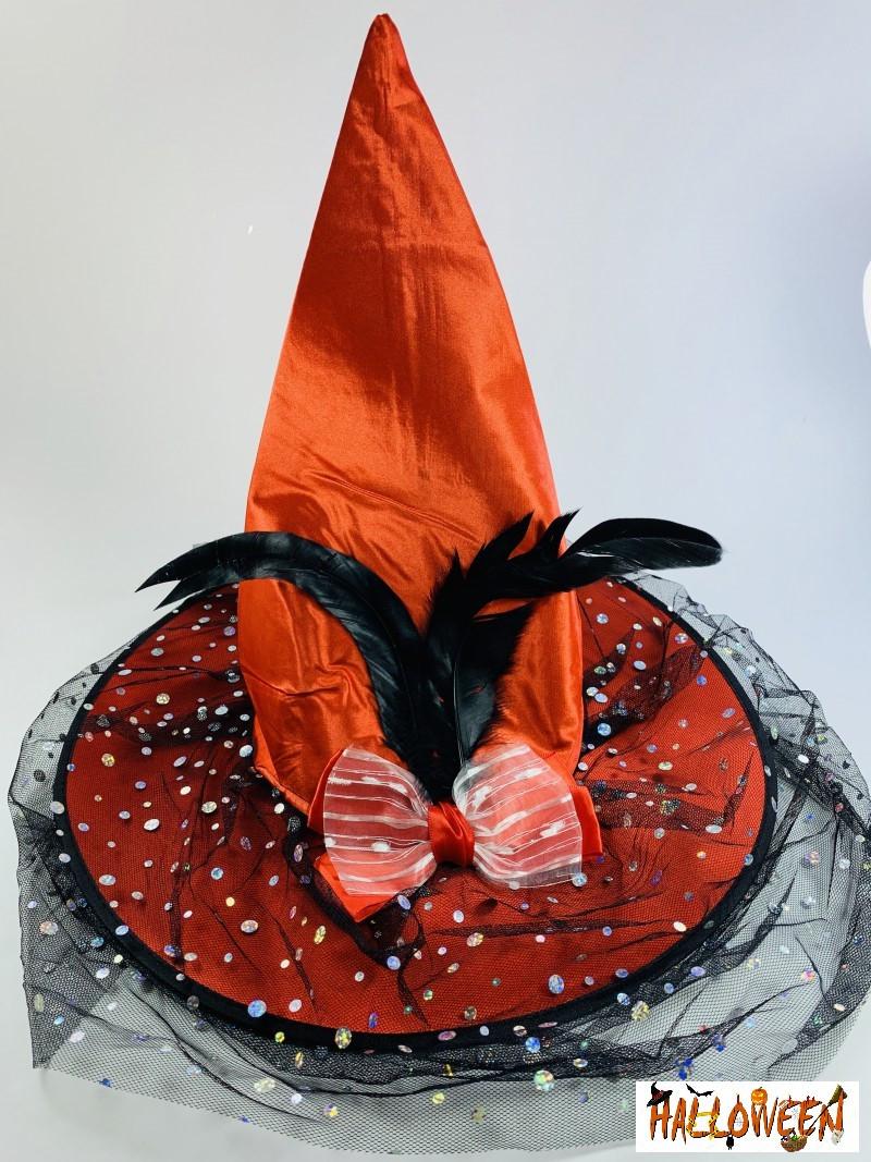 Колпак ведьмы оранжевый с бантом и пером