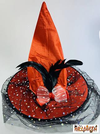 Колпак ведьмы оранжевый с бантом и пером, фото 2
