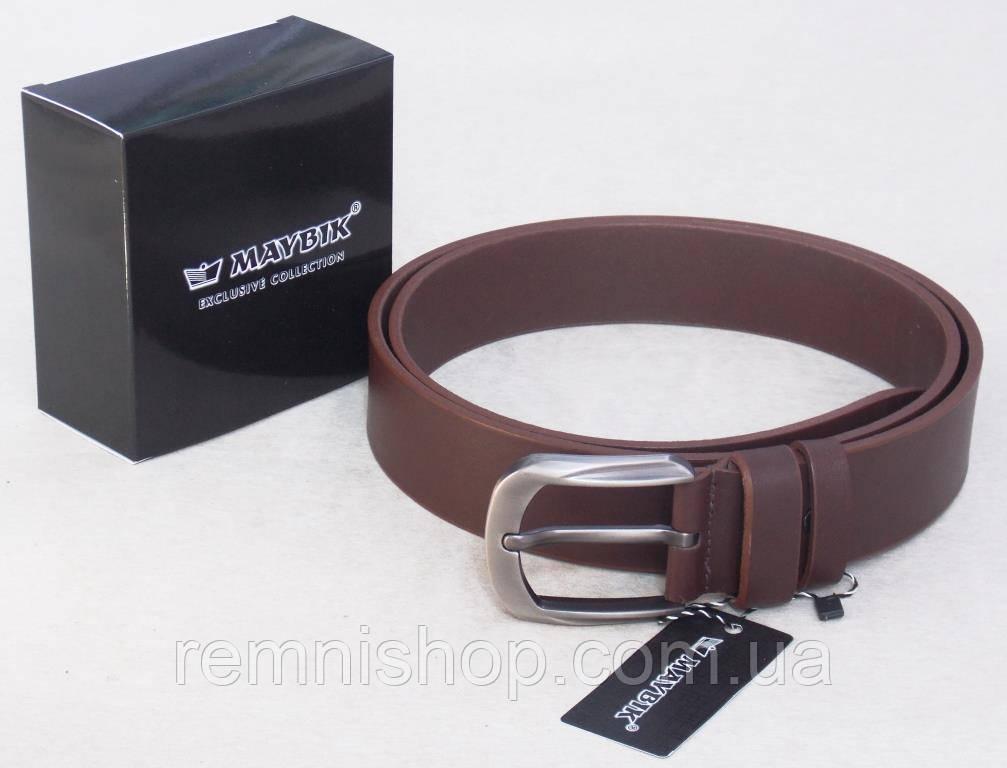 Кожаный мужской коричневый ремень Maybik универсальный