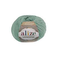 Пряжа Alize Lanacoton 15 водяная зелень ( нитки для вязания Ализе Ланакотон, Ализе Лана Коттон)