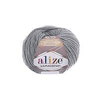 Пряжа Alize Lanacoton 21 серый меланж ( нитки для вязания Ализе Ланакотон, Ализе Лана Коттон)